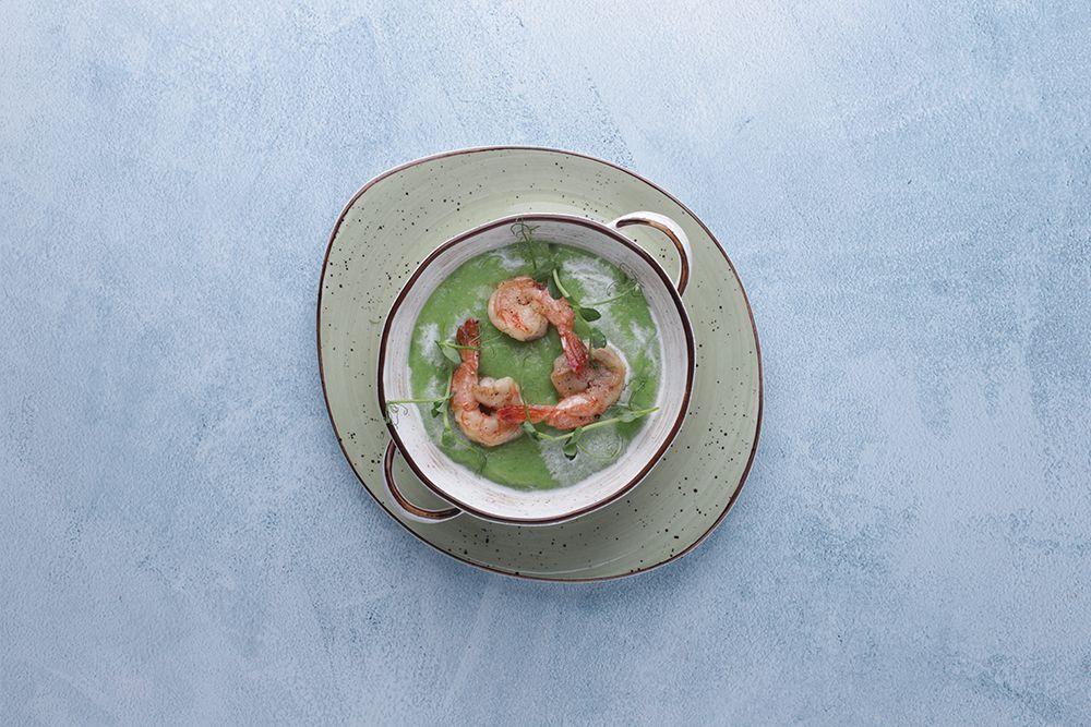 Крем-суп из броколли с креветкой